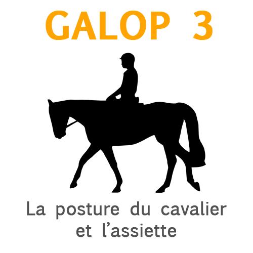 Galop 3, la posture du cavalier assis et l'assiette